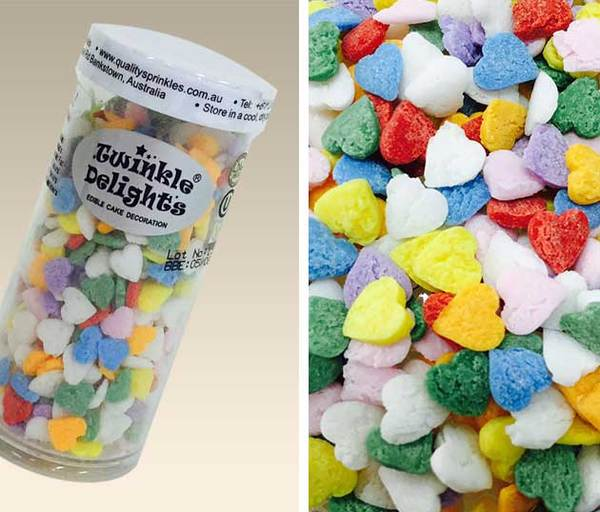 Cake Decorations And Sprinkles : Rainbow Colour Hearts Sprinkles Edible Cake Decorations ...