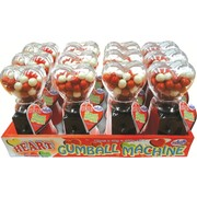 Heart Gum Ball Machines (Red & Black) - 1 Tray of 12 Machines