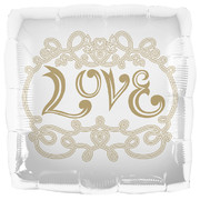 Love White and Gold Square 18in Foil Balloon Pk 1