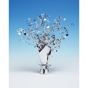 Centrepiece Weight and Spray Foil Hearts Silver Pk1