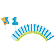 1st Birthday Boy Cupcake Wraps With Toppers Pk 12 (12 Wraps & 12 Assorted Toppers)