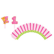 1st Birthday Girl Cupcake Wraps With Toppers Pk 12 (12 Wraps & 12 Assorted Toppers)