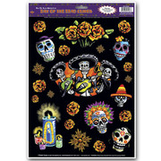 Day of the Dead Assorted Wall Clings (1 Sheet of 23 Clings)