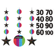 Milestone Celebrations Hanging Cutout Decorations Pk 3 (+ Age Stickers)