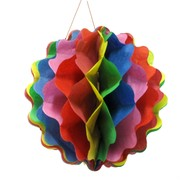 Multi Coloured Honeycomb Ball Decoration Pk1