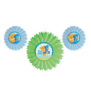 1st Birthday Boy Tissue Fans With Attachments Pk 3