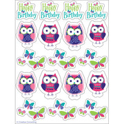 Owl Pal Birthday Stickers Pk 4 (4 Sheets of 18 Stickers)