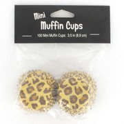 Mini Leopard Print Baking Cups Pk 100