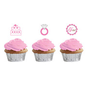 Bride 2 Be Dots Cupcake Toppers Pk 12 (3 Assorted Designs, 4 of each)