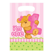 Bears 1st Birthday Girl Loot Bags Pk 8