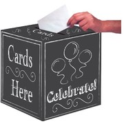 Black Chalk Board Foldable Gift Card Box (12in.) Pk 1