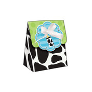 Baby Cow Print Boy Favours Bags With Ribbon Pk 12