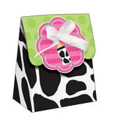 Baby Cow Print Girl Favours Bags With Ribbon Pk 12