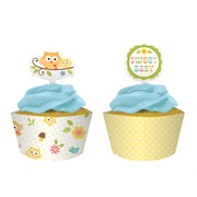 Owl Baby Shower Cupcake Wrappers - Happi Tree Pk 12 (12 Wraps & 12 Assorted Toppers)