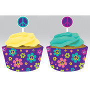 Groovy Party Cupcake Wrappers With Toppers Pk 12 (12 Wraps & 12 Assorted Toppers)