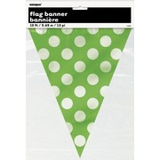 Lime Green Flag Banner with White Polka Dots (3.6m) Pk 1