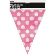 Hot Pink & White Polka Dot Flag Banner (3.6m) Pk 1