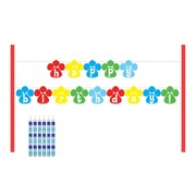 Puppy Dog Party Cake Banner Kit - Paw-ty Time! Pk 1 (6 Candles & a Banner)