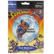 Superman Party Balloon - Foil 45cm Happy Birthday Pk1
