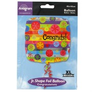 Balloon Foil 18in Square Congrats Bubble Burst Pk1