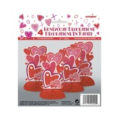 Mini Red Hearts Honeycomb Decorations (6in) Pk 4