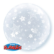 Balloon Bubble All Over Stars Clear Pk1