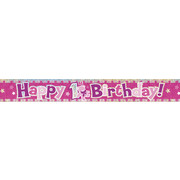 Prismatic Pink 1st Birthday Foil Banner (3.65m) Pk 1