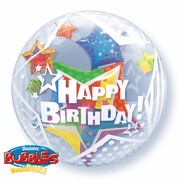 Balloon Double Bubble Birthday Twinkling Stars Pk1