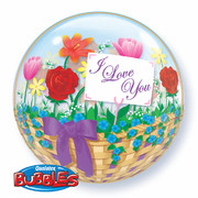 Bubble Balloon I Love You Flower Basket 22in Pk1