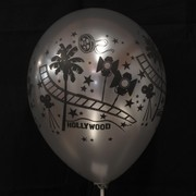Metallic Latex Party Balloons - Hollywood Stars (Silver) Pk5