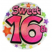 Sweet 16th Giant Party Badge Pk 1