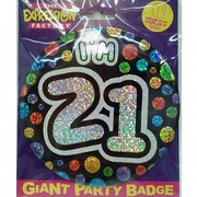 Blue Male Giant 21 Today Badge Pk 1