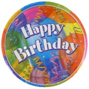 Happy Birthday Party Plates - Small 17cm Jubilee Pk8