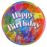 Happy Birthday Party Plates - Large 23cm Jubilee Pk8