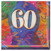 60th Birthday Party Napkins - Lunch Jubilee Pk16