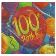 100th Birthday Party Napkins - Beverage Painted Balloons Pk16