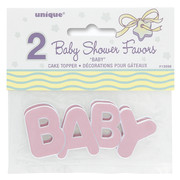 Pink Baby Shower Cake Toppers Pk 2