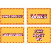 Big Top Birthday Hanging Signs Pk 4 (Assorted Designs)