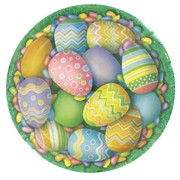 Easter Party Plates - Small 17cm Eggs Pk8