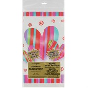 Hearts & Stripes Plastic Party Tablecover Pk1