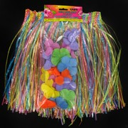 Hawaiian Luau Hula Skirt & Lei Set Child Pk1