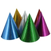 Laser Cone Party Hats Pk6 (Assorted Colours)