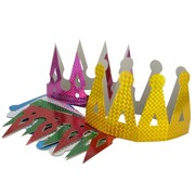 Laser Crown Party Hats Pk6 (Assorted Colours)
