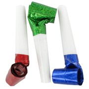 Assorted Party Blowouts - Laser Pk6 (Assorted Colours)