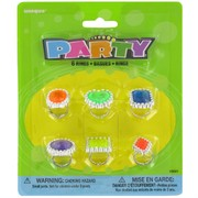 Party Favours - Coloured Gem Rings Pk 6