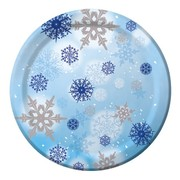 Blue and Silver Snowflake Plates Small Pk 8