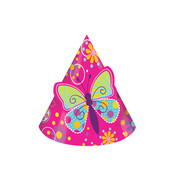 Butterfly Sparkle Party Hats Pk 8