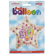 Balloon Foil 18in Star Birthday Girl Pk1