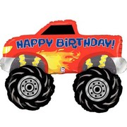 Monster Truck Happy Birthday Supershape Foil Balloon (40in-102cm) Pk 1