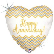 Happy Anniversary Holographic Chevron Heart 18in Foil Balloon Pk 1
